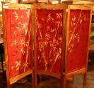 Kristi Kranz - Screen - Room Divider - Charmeuse Silk Red Bamboo