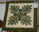 "Amy Bendtsen - Authentic Hawaiian Quilt Wall Hanging - Breadfruit Ulu #3 - 25"" x 25"""