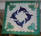 "Amy Bendtsen - Authentic Hawaiian Quilt Wall Hanging - Kolohe Dolphins - 29"" x 29"""