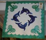 Authentic+Hawaiian+Quilt+Wall+Hanging+-+Kolohe+Dolphins+-+29%22+x+29%22