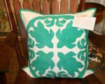 "Amy Bendtsen - Authentic Hawaiian Quilt Pillow Cover - Honu - 20"" x 20"""