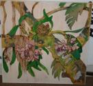 Ember Soberman - Black Sands Orchid - Wood Burned Painting