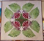 Authentic+Hawaiian+Quilt+Wall+Hanging+-+Torch+Ginger+%26+Monstera+-+41%22+x+41%22