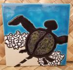 Petroglyph+Honu+Single+Ceramic+Hawaiian+Tile+6+x+6