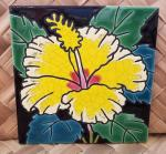Yellow+Hibiscus+Flower+Single+Ceramic+Hawaiian+Tile+6+x+6